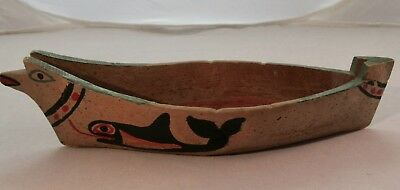 Vintage Native American Northwest Coast Hand Carved Model Canoe Whales 1900s