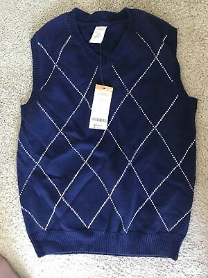 NWT Gymboree Blue 100% Cotton V-Neck Sweater Vest Boys M (7-8) NEW
