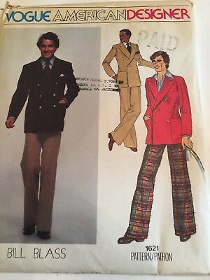 Vogue Men's 1970's Men's Jacket and Pants  Uncut # 1621 Designer Bill Blass S-40