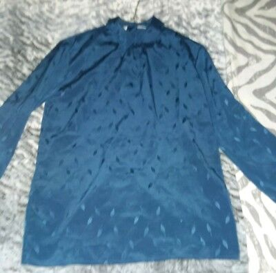 Vintage Christian Dior Blouse/Shirt Women Size 14  Beautiful Blue Color