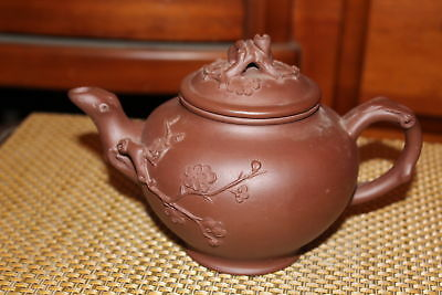 Chinese Brown Clay Pottery Teapot Flowers Tree Branches Signed Bottom