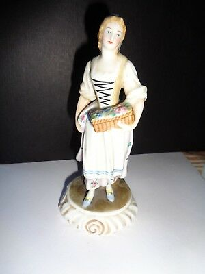 Vintage Capodimonte Porcelain Figurine Women with Basket of Flowers