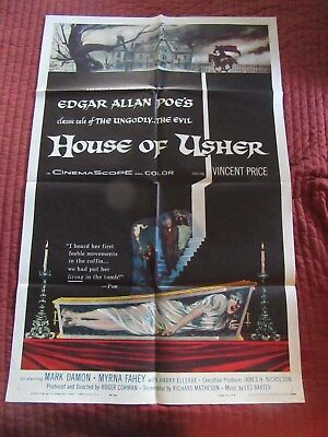 HOUSE OF USHER 1-sheet, Vincent Price,  AIP Roger Corman, Poe Richard Matheson