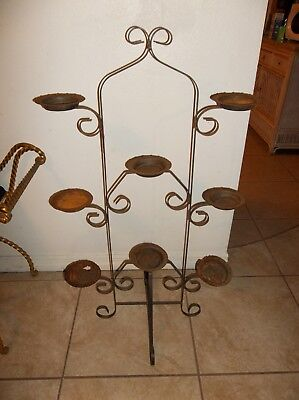 "Vintage Mid Century Wrought Iron Candle / Plant Stand  40"" tall"