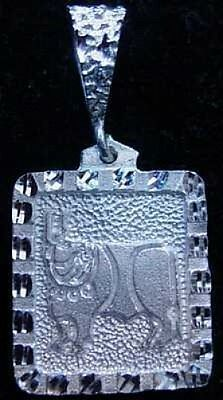 LOOK Taurus Zodiac Ram Ancient Carving pendant Real AUTH. Solid Sterling silver