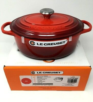 NIB Le Creuset Cast Iron 2 3/4 qt Oval French (Dutch) Oven Cherry Red cerise