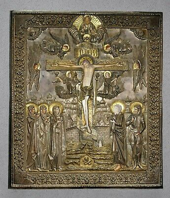 "1892y RUSSIAN ROYAL IMPERIAL 84"" SILVER GOLD ICON OKLAD CRUCIFIXION JESUS CHRIST"