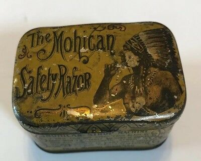Antique Vintage Advertising Mohican Indian Safety Razor Blade Box Tin