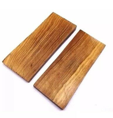 Pair of Olive Wood Scales Knife Handle Making Blanks Crafts 11.5X4.5cm OLWD