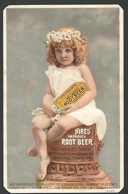 1883 Advertising Trade Card HIRES IMPROVED ROOT BEER Packages 25 cents PHILA.