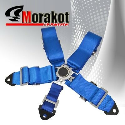 3'' Inch Universal 5 Point Quick Release Camlock Racing Seat Belt Harness Blue