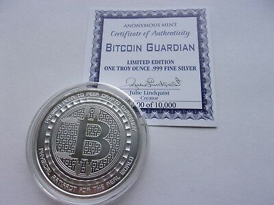 Bitcoin Guardian 1 Oz .999 Silver Bitcoin Commemorative Coin Anonymous Mint #coa