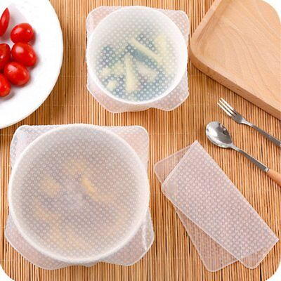 Stretch And Fresh 4-Piece Silicone Food Wrap Multi-Function Bowl Cover FG