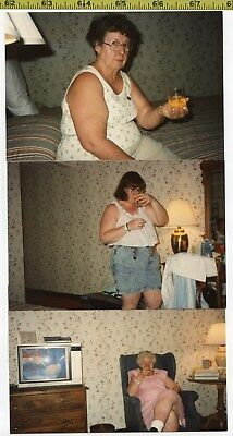 (3) Old 1980's photos / Large Women Drink Booze - Whaddya Mean It Has Calories?