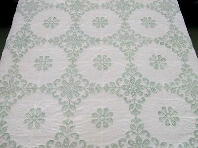 Vintage Hand Sewn All Cotton Green & White CROSS STITCH Floral Pattern QUILT
