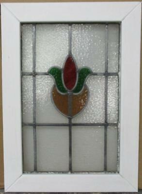"MID SIZE OLD ENGLISH LEADED STAINED GLASS WINDOW Abstract Floral Heart 18"" x 25"""