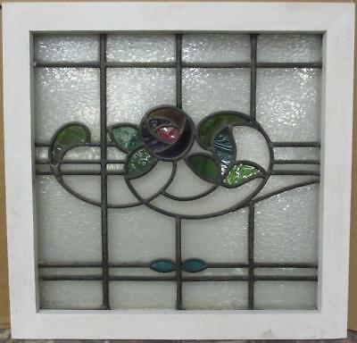 "MID SIZED OLD ENGLISH LEADED STAINED GLASS WINDOW Stunning Floral 22.5"" x 22"""