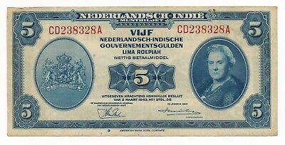 Indonesia Netherlands Indies 5 Gulden /Roepiah  1943 VF Note P. 113a