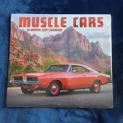 """2019 Wall Calendar -MUSCLE CARS  -Colorful 16 Month-12x22 """" PaperCraft-Sealed"""