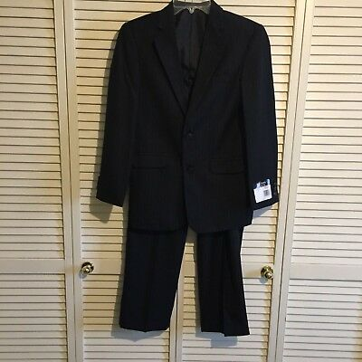 Boys Chaps Black Pinstripe  Suit  Size 16R Perfect New W Tag $85