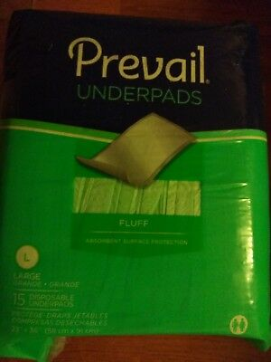 Prevail Fluff Disposable Underpads Moderate Absorbency 23 x 36in -15/Pack *NEW*