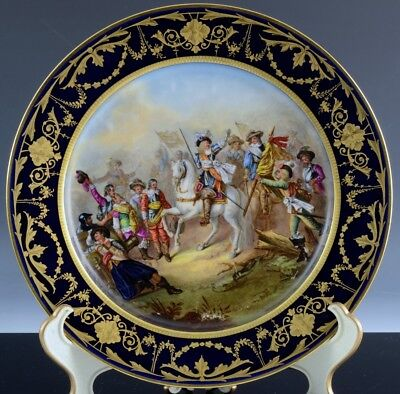 Stunning 1866 Sevres France Hand Painted Battle Of Rocroy 1643 Military Plate