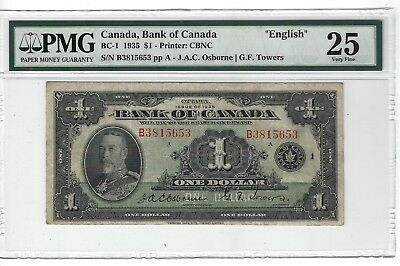BC-1 1935 1 Dollar, Bank of Canada, ENGLISH, PMG 25 Very Fine
