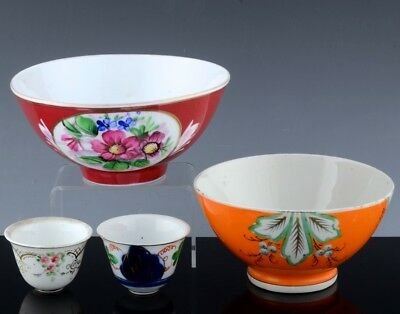 4 Pieces Russian Imperial Porcelain Enamel Wine Cup Teacups Bowls Gardner