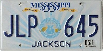USA Number Licence Plate MISSISSIPPI BIRTHPLACE OF AMERICAS MUSIC GUITAR