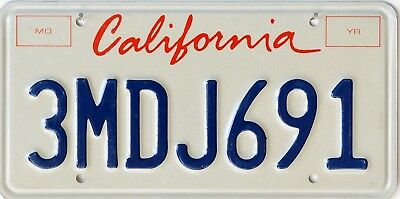 USA Number Licence Plate CALIFORNIA