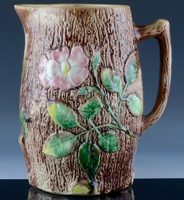 Lovely Very Large Antique Majolica Tree Stump & Pink Dogwood Flowers Pitcher Jug