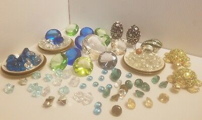 Lot Large Crystal Clear Paperweight Cut Glass Giant Diamond Jeweled trinket box