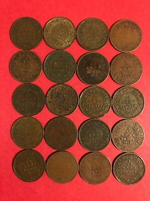 Lot of 20 Old British India 1/12 Anna Coins 1887-1936