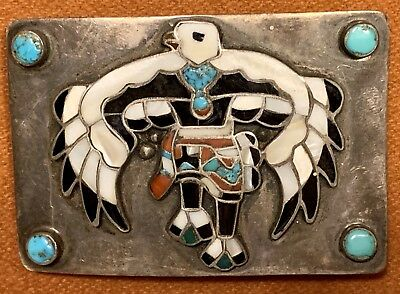 Turquoise Coral Obsidian Mother of Pearl Belt Buckle Eagle Native American