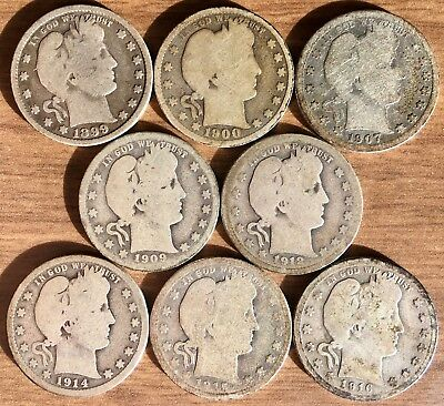 Cool Lot of 8 Different Low Grade SILVER Barber Quarters 1899 - 1916