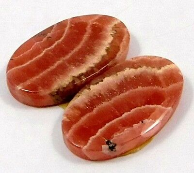 100% Natural Matched Pair Of Rhodochrosite Gemstone 32ct 20x12mm NH382