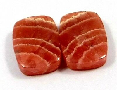 100% Natural Matched Pair Of Rhodochrosite Gemstone 42ct 19x12mm NH374