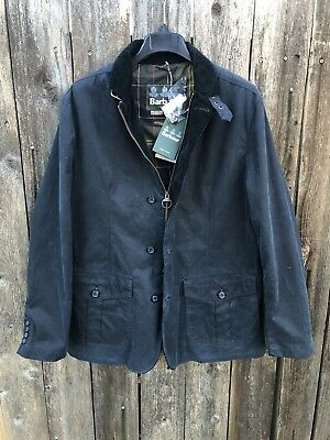 NWT $460 Barbour Lutz Wax Cotton Jacket Coat Men's Navy Blue Sz L