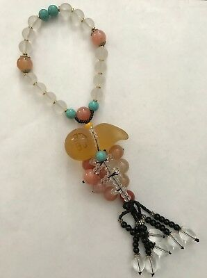 LARGE Chinese Glass Stone Beads Good Luck Hanging Charm Feng Shui Handmade