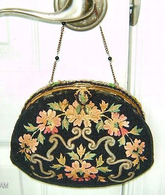 Vintage French Black Beaded Purse With Colored Crewel Embroidered Stitches