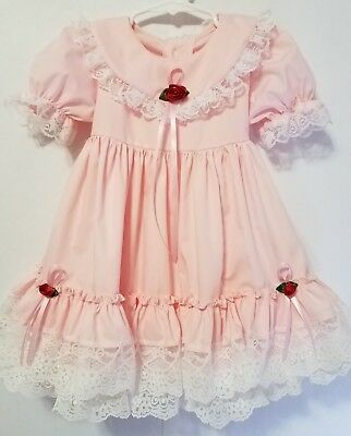 Vintage Style Baby Pink White Lacey Ruffle Toddler Dress Size 2T Red Rose's