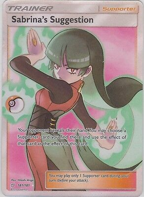 Pokemon TCG SM Team Up 181/181 Sabrina's Suggestion Full Art Rare Card
