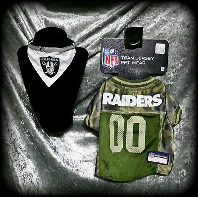 29bfba82b S Nfl Limited Edition Oakland Raiders Cat Dog Pet Camo Jersey 2Pc Lot Set