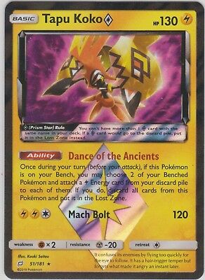 Pokemon TCG SM Team Up 51/181 Tapu Koko Prism Star Rare Card