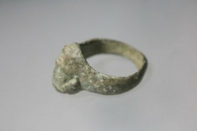 Ancient Fantastic Roman Bronze Ring with Beautiful Head  1st - 4th century AD