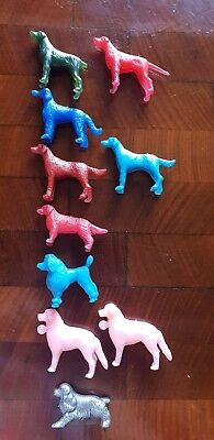 Lot Of 10 Vintage Plastic Dogs Cereal Toys 60s 70s Retro bowl sitters colourful