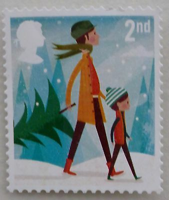 100 mixed mainly xmas 2nd class stamps unfranked  off paper no gum FV £58