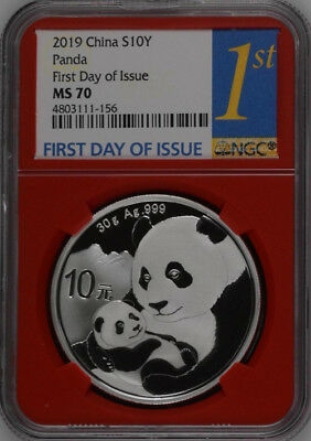NGC MS70 2019 China 30g Silver Panda Coin First Day of Issue #01