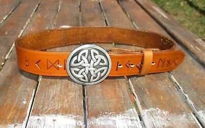 "Celtic Runic Leather Belt Handmade To Custom Fit YOU  22"" to extra long  66 inch"