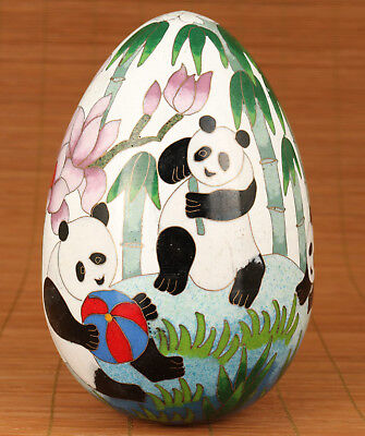 Rare Big Chinese Old Cloisonne Copper Hand Painting Panda Egg Statue decoration